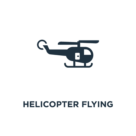 Helicopter Flying icon. Black filled vector illustration. Helicopter Flying symbol on white background. Can be used in web and mobile.