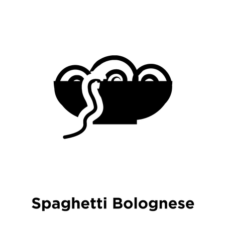 Spaghetti Bolognese icon vector isolated on white background, logo concept of Spaghetti Bolognese sign on transparent background, filled black symbol