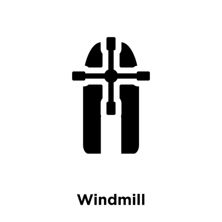 Windmill icon vector isolated on white background, logo concept of Windmill sign on transparent background, filled black symbol  イラスト・ベクター素材