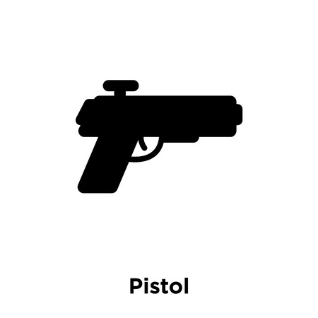 Pistol icon vector isolated on white background, logo concept of Pistol sign on transparent background, filled black symbol Stock Vector - 111421630