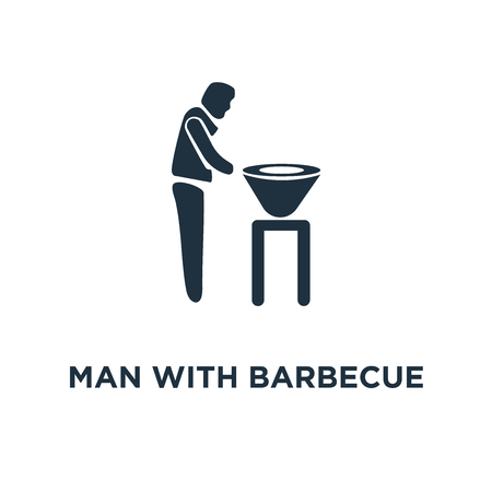 Man with Barbecue icon. Black filled vector illustration. Man with Barbecue symbol on white background. Can be used in web and mobile. 일러스트