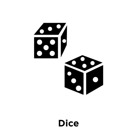 Dice icon vector isolated on white background, logo concept of Dice sign on transparent background, filled black symbol Illustration