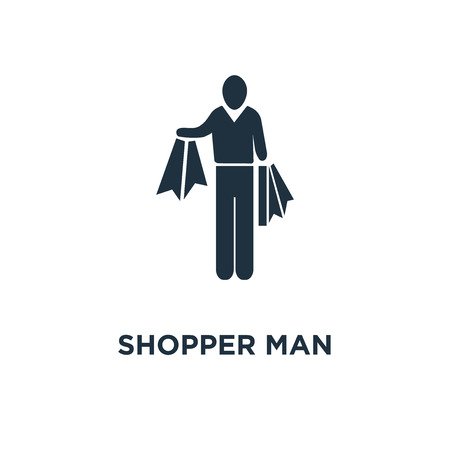 Shopper Man icon. Black filled vector illustration. Shopper Man symbol on white background. Can be used in web and mobile.