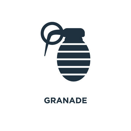 Granade icon. Black filled vector illustration. Granade symbol on white background. Can be used in web and mobile. Vector Illustration