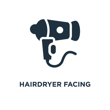 Hairdryer Facing Left icon. Black filled vector illustration. Hairdryer Facing Left symbol on white background. Can be used in web and mobile.