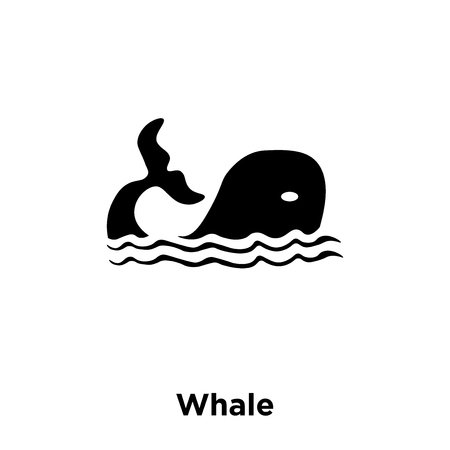 Whale icon vector isolated on white background, logo concept of Whale sign on transparent background, filled black symbol