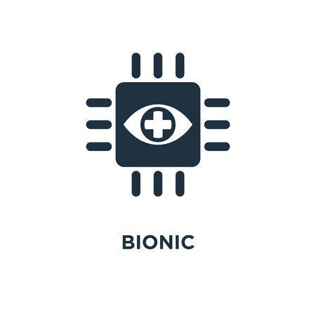 Bionic icon. Black filled vector illustration. Bionic symbol on white background. Can be used in web and mobile.