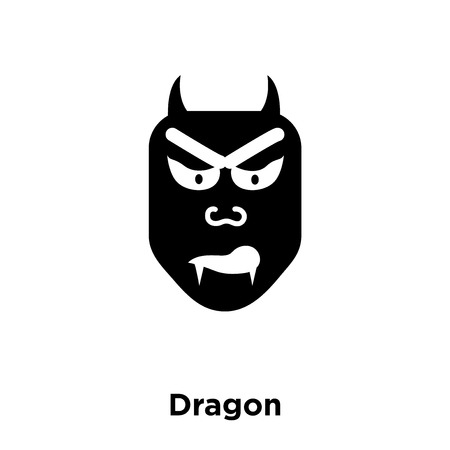 Dragon icon vector isolated on white background, logo concept of Dragon sign on transparent background, filled black symbol
