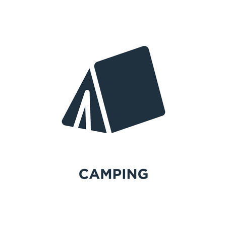 Camping icon. Black filled vector illustration. Camping symbol on white background. Can be used in web and mobile.