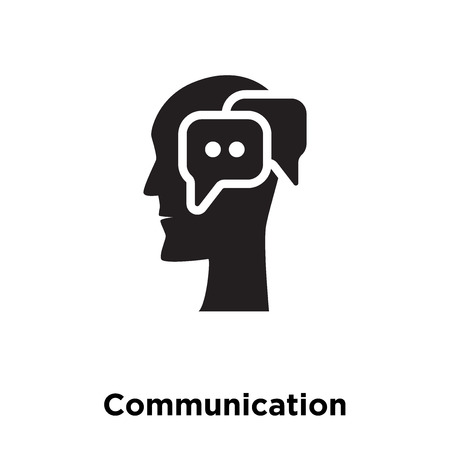 Communication icon vector isolated on white background, logo concept of Communication sign on transparent background, filled black symbol