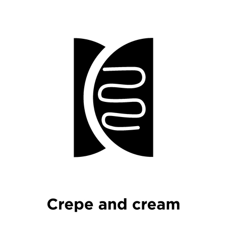 Crepe and cream icon vector isolated on white background, logo concept of Crepe and cream sign on transparent background, filled black symbol