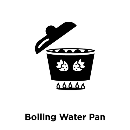 Boiling Water Pan icon vector isolated on white background, logo concept of Boiling Water Pan sign on transparent background, filled black symbol
