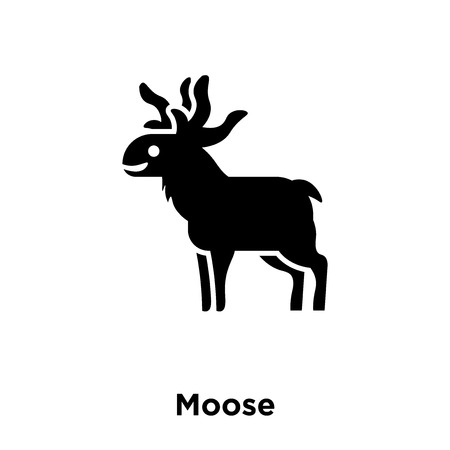 Moose icon vector isolated on white background, logo concept of Moose sign on transparent background, filled black symbol