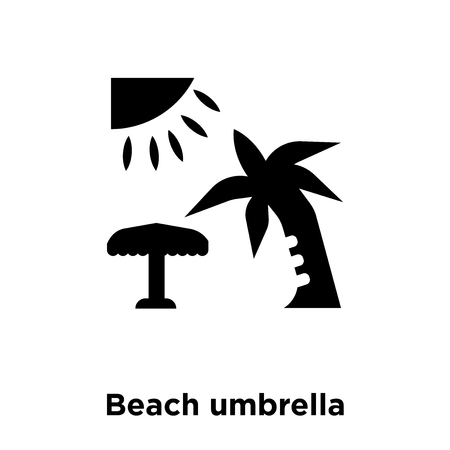 Beach umbrella icon vector isolated on white background, logo concept of Beach umbrella sign on transparent background, filled black symbol