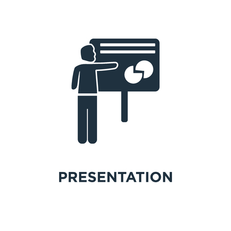 Presentation Whiteboard icon. Black filled vector illustration. Presentation Whiteboard symbol on white background. Can be used in web and mobile.