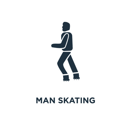Man Skating icon. Black filled vector illustration. Man Skating symbol on white background. Can be used in web and mobile. Stock Illustratie