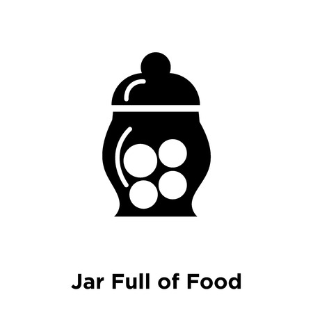 Jar Full of Food icon vector isolated on white background, logo concept of Jar Full of Food sign on transparent background, filled black symbol