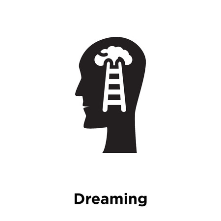Dreaming icon vector isolated on white background, logo concept of Dreaming sign on transparent background, filled black symbol Illustration