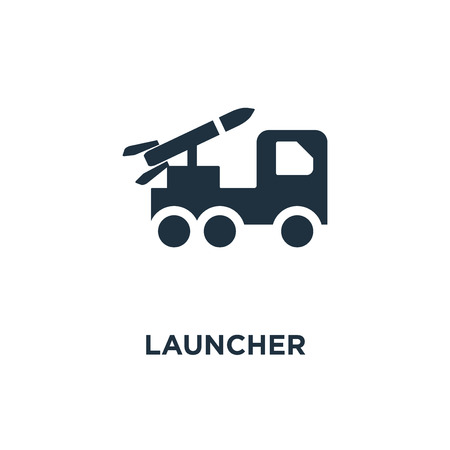 Launcher icon. Black filled vector illustration. Launcher symbol on white background. Can be used in web and mobile. Illusztráció