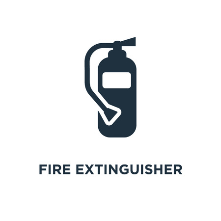 Fire extinguisher icon. Black filled vector illustration. Fire extinguisher symbol on white background. Can be used in web and mobile.