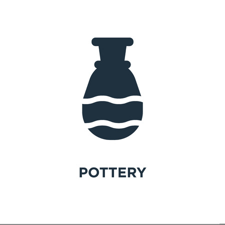Pottery icon. Black filled vector illustration. Pottery symbol on white background. Can be used in web and mobile.