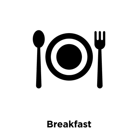 Breakfast icon vector isolated on white background, logo concept of Breakfast sign on transparent background, filled black symbol