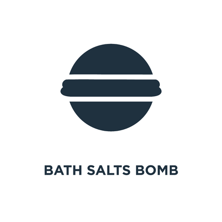 Bath Salts Bomb icon. Black filled vector illustration. Bath Salts Bomb symbol on white background. Can be used in web and mobile. Vettoriali