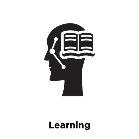 Learning icon vector isolated on white background, logo concept of Learning sign on transparent background, filled black symbol