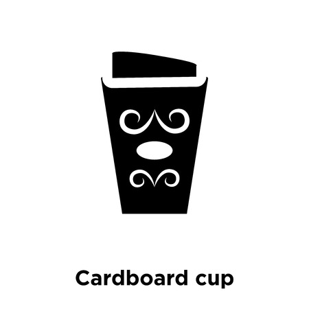 Cardboard cup icon vector isolated on white background, logo concept of Cardboard cup sign on transparent background, filled black symbol