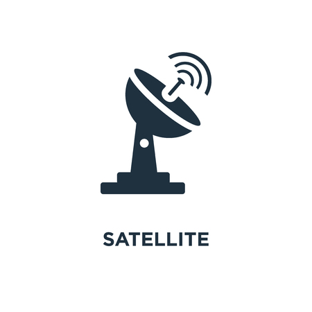 Satellite icon. Black filled vector illustration. Satellite symbol on white background. Can be used in web and mobile.