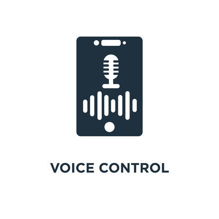Voice control icon. Black filled vector illustration. Voice control symbol on white background. Can be used in web and mobile. Vektoros illusztráció