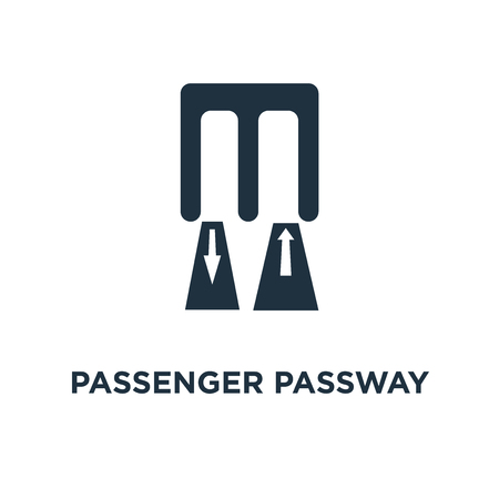Passenger Passway icon. Black filled vector illustration. Passenger Passway symbol on white background. Can be used in web and mobile.