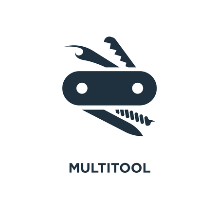Multitool icon. Black filled vector illustration. Multitool symbol on white background. Can be used in web and mobile. Illustration