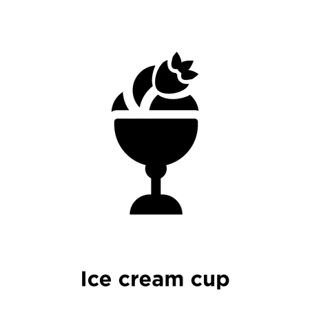 Ice cream cup icon vector isolated on white background, logo concept of Ice cream cup sign on transparent background, filled black symbol Illustration
