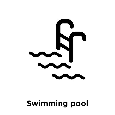 Swimming pool icon vector isolated on white background, logo concept of Swimming pool sign on transparent background, filled black symbol