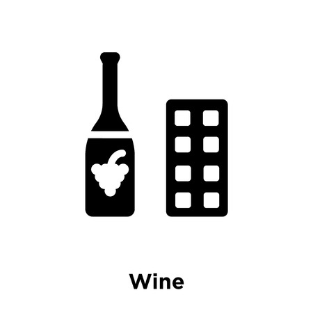Wine icon vector isolated on white background, logo concept of Wine sign on transparent background, filled black symbol