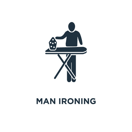 Man Ironing icon. Black filled vector illustration. Man Ironing symbol on white background. Can be used in web and mobile.