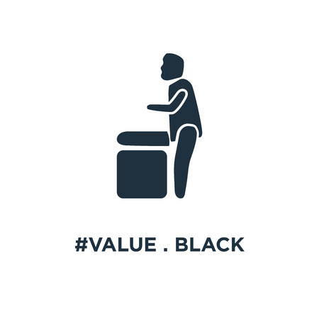 #VALUE . Black filled vector illustration. #VALUE  symbol on white background. Can be used in web and mobile. Stockfoto - 111614945