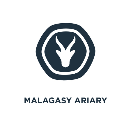 Malagasy Ariary icon. Black filled vector illustration. Malagasy Ariary symbol on white background. Can be used in web and mobile. 向量圖像