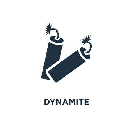 Dynamite icon. Black filled vector illustration. Dynamite symbol on white background. Can be used in web and mobile.