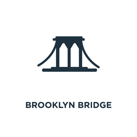 Brooklyn bridge icon. Black filled vector illustration. Brooklyn bridge symbol on white background. Can be used in web and mobile.