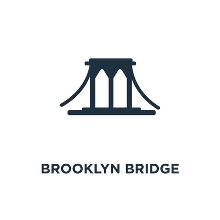 Ikona mostu Brooklińskiego. Ilustracja wektorowa czarne wypełnione. Most Brookliński symbol na białym tle. Może być używany w sieci i na urządzeniach mobilnych.