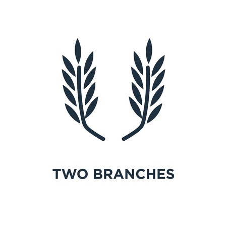 Two branches symbol of frame icon. Black filled vector illustration. Two branches symbol of frame symbol on white background. Can be used in web and mobile.