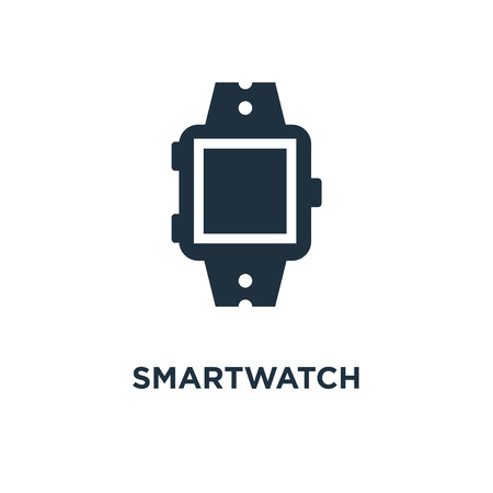Smartwatch icon. Black filled vector illustration. Smartwatch symbol on white background. Can be used in web and mobile.