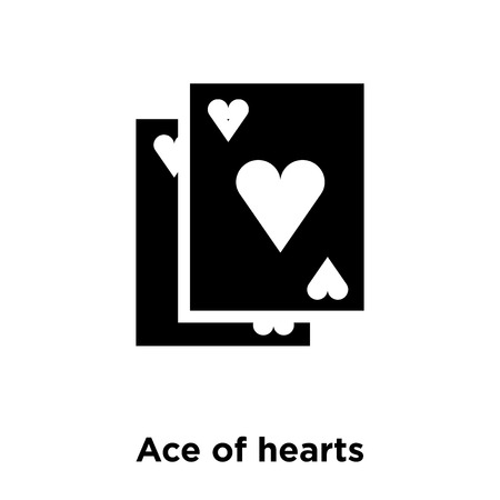 Ace of hearts icon vector isolated on white background, logo concept of Ace of hearts sign on transparent background, filled black symbol