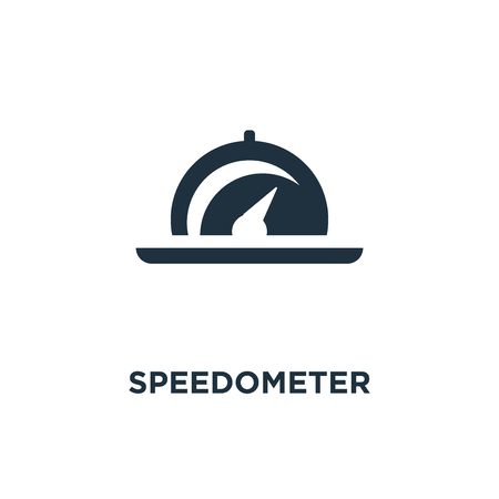 Speedometer icon. Black filled vector illustration. Speedometer symbol on white background. Can be used in web and mobile.