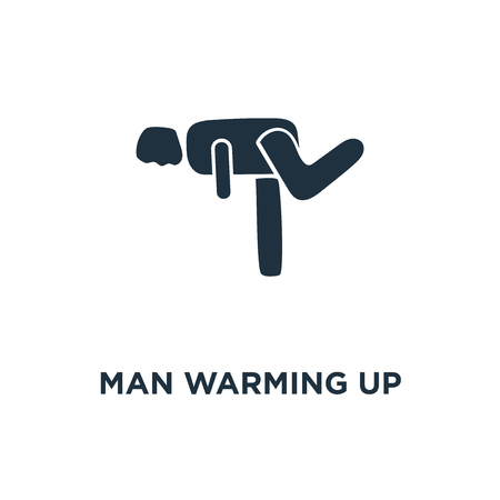 Man Warming Up icon. Black filled vector illustration. Man Warming Up symbol on white background. Can be used in web and mobile. Stock Vector - 111617511