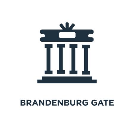 Brandenburg gate icon. Black filled vector illustration. Brandenburg gate symbol on white background. Can be used in web and mobile. Banque d'images - 111618012