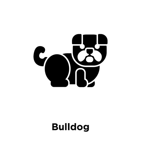 Bulldog icon vector isolated on white background, logo concept of Bulldog sign on transparent background, filled black symbol