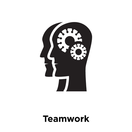Teamwork icon vector isolated on white background, logo concept of Teamwork sign on transparent background, filled black symbol Illustration